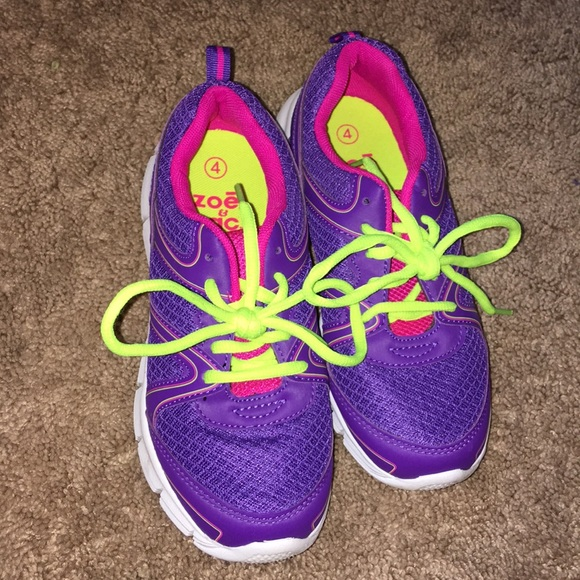 Shoes   Purple Tennis With Yellow Neon